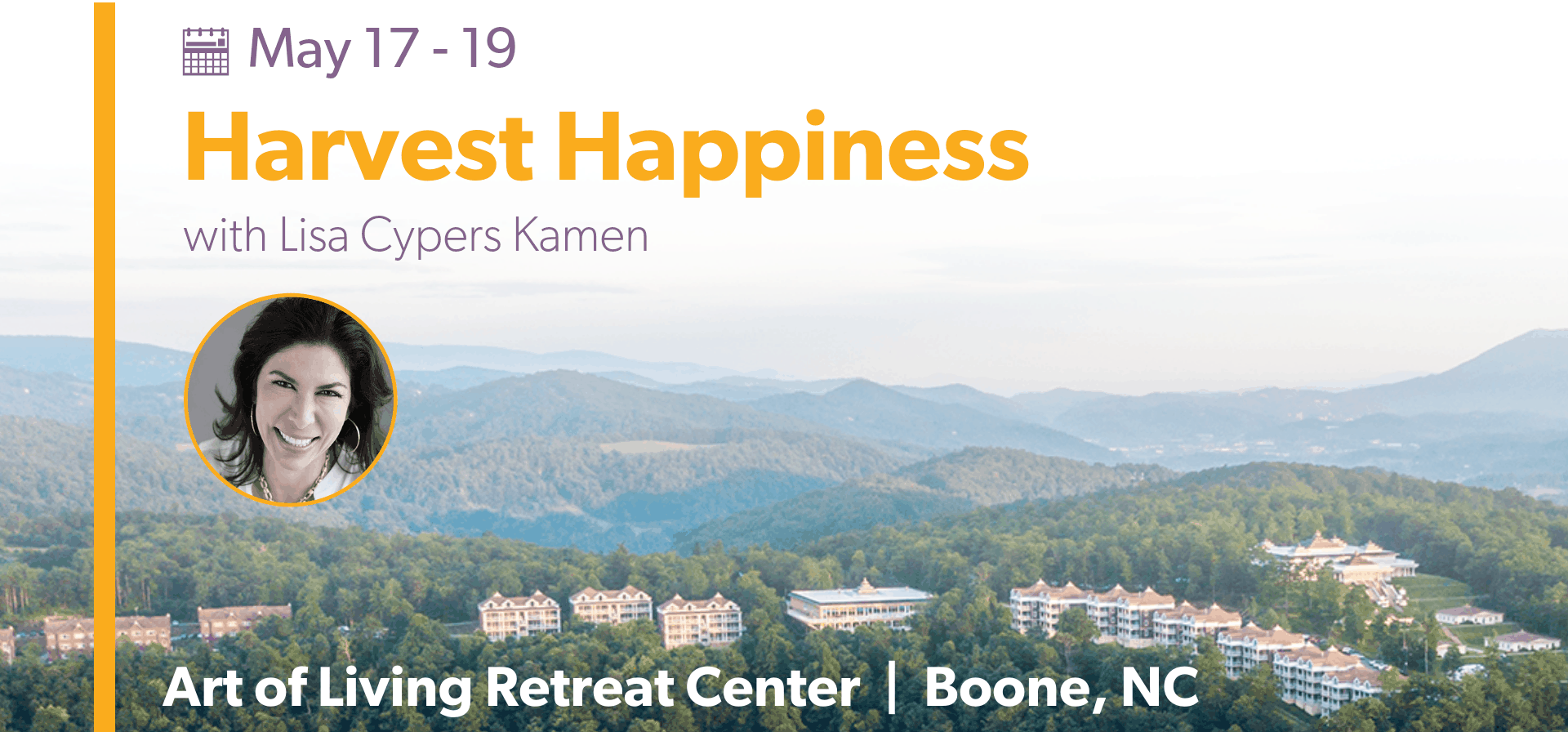 Lisa Cypers Kamen Speaker Art of Living Retreat Center